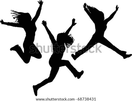 Jumping girls - stock vector
