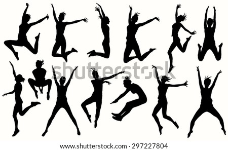 Jumping girls silhouettes in different poses