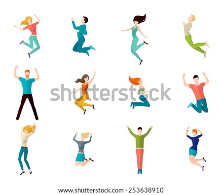 Jumping high male and female people avatar set isolated vector illustration - stock vector
