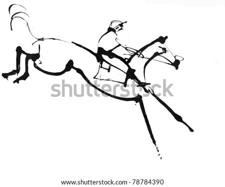 Jumping Horse - stock vector