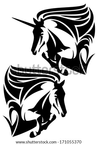 Jumping horse and unicorn black and white vector design