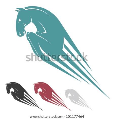 Jumping horse symbol - vector illustration - stock vector