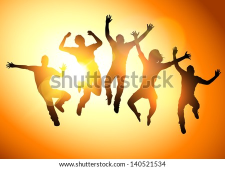 Jumping Into The Sun. People jumping  - vector illustration. - stock vector