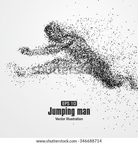Jumping Man, particle divergent composition, vector illustration. - stock vector