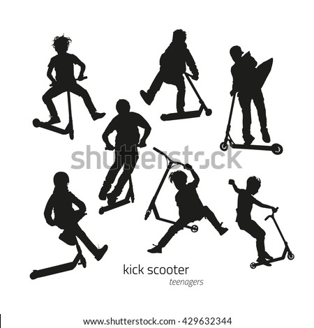 Jumping on a kick scooter silhouettes teen on the white background. Vector illustration - stock vector