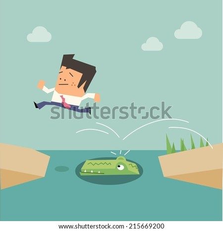 Jumping over the Crocodile. Flat vector illustration - stock vector