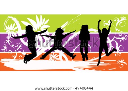 Jumping People Silhouettes Vector - stock vector