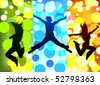jumping peoples - stock vector