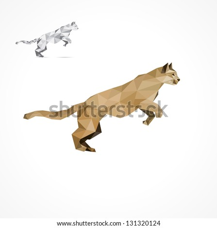 Jumping Puma, stylized triangle polygon model - stock vector