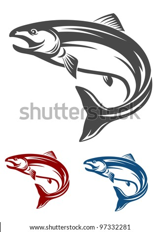 Jumping salmon fish in retro style isolated on white background, such  a logo. Jpeg version also available in gallery