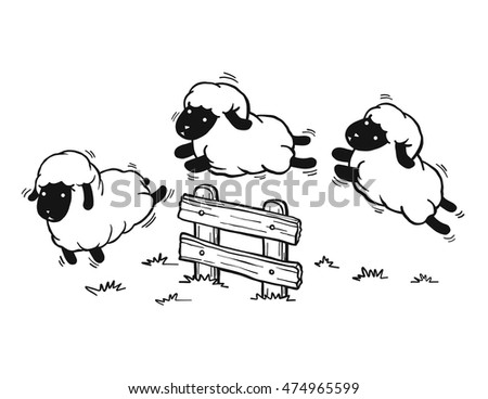Jumping sheep funny sheep cartoon isolated stock vector for Staccionata dwg