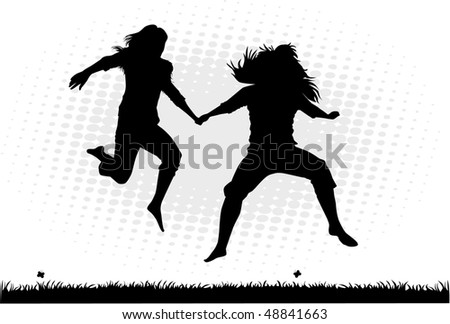 Jumping silhouettes of girls - a scene from nature