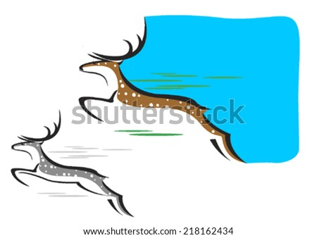 Jumping spotted deer - stock vector