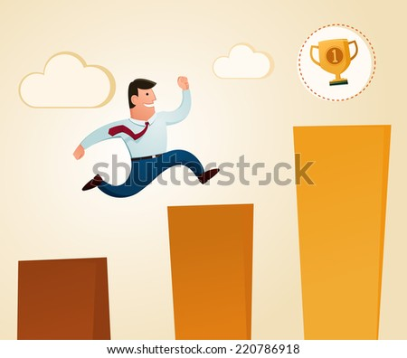 jumping to get a trophy in the top level  - stock vector