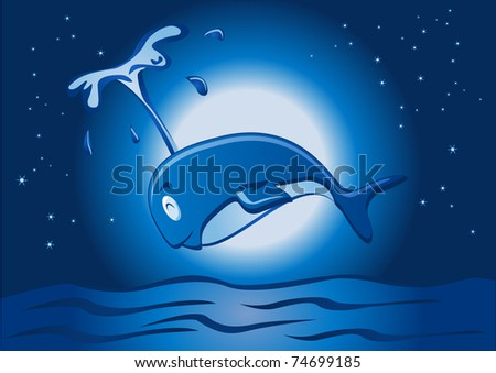 jumping whale in the night - stock vector