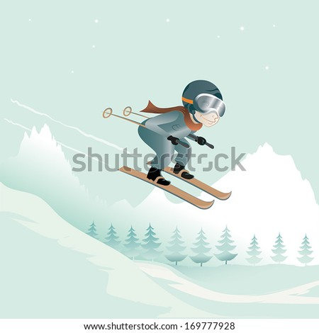 jumping with skis,vector illustration of a ski jumping guy in a winter landscape, objects separated on different layers - stock vector
