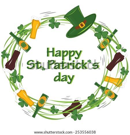Junble rotation simbols of patricks day - green clover, beer, hat, glass - stock vector