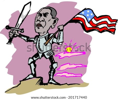 June 30, 2014: A vector illustration of a portrait of President Obama - stock vector