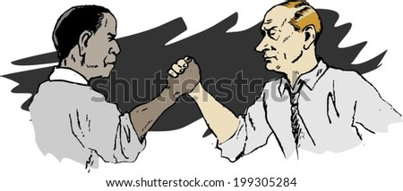 June 18, 2014: A vector illustration of a portrait of President Obama and Vladimir Putin armwrestling - stock vector