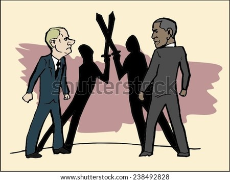 June 18, 2014: A vector illustration of a portrait of President Obama and Vladimir Putin figuratively fighting with swords - stock vector