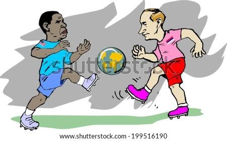June 18, 2014: A vector illustration of a portrait of President Obama and Vladimir Putin   play football globe - stock vector
