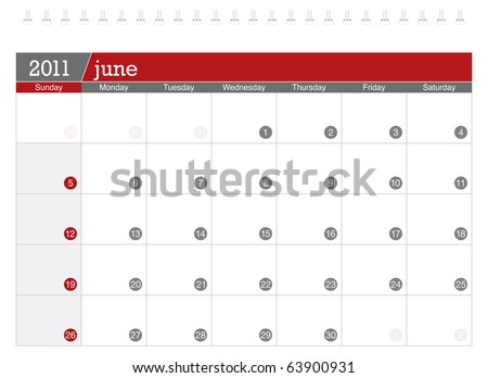 June 2011 Calendar - stock vector