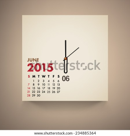 June 2015 Calendar Clock Design Vector  - stock vector