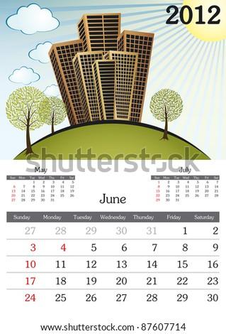 June. 2012 Calendar. Souvenir fonts used. A3 - stock vector