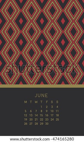 June 2017 calendar. Week starts from Monday. Vector illustration.