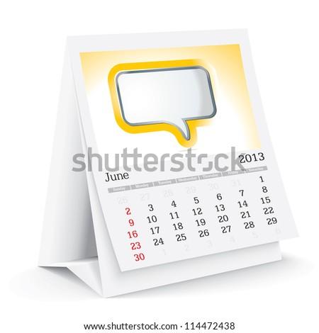 june 2013 desk calendar - stock vector