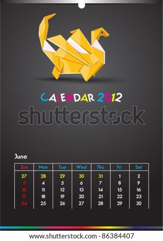 June 2012 Dragon Calendar Template - stock vector