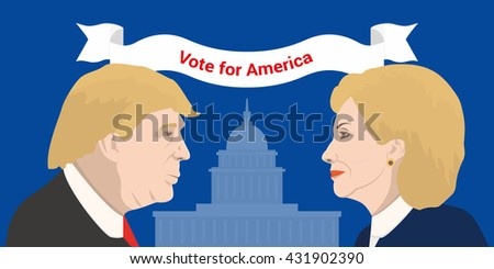 June 5, 2016: June 5, 2016: A vector illustration showing Democrat presidential candidate Hillary Clinton and Republican presidential candidate Donald Trump on United States Capitol background - stock vector