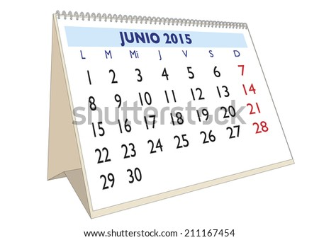June month in a year 2015 calendar in spanish. Junio 2015 - stock vector