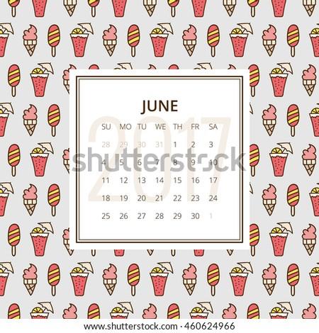 June 2017 One Month Calendar Vector Stock Vector Hd Royalty Free