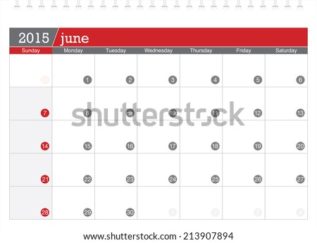 June 2015 planning calendar - stock vector