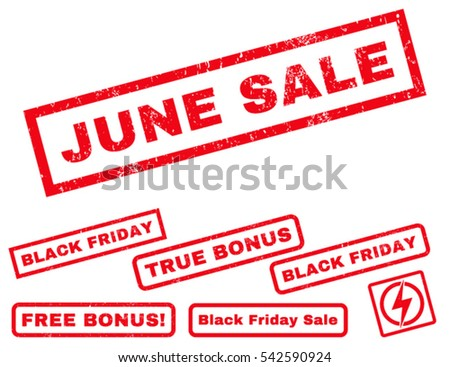 June Sale rubber seal stamp watermark with additional images for Black Friday offers. Vector red signs. Text inside rectangular shape with grunge design and dust texture.