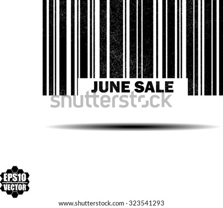 June Sale With Barcode And Shadow Black Grunge Stamp Isolated On White Background. Vector Illustration