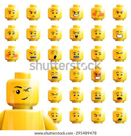 June 17,2015: vector illustration large set individual yellow isolated heads toy kit LEGO minifigures various designs emotions with smile,winks,cry,woe,joy,fun,trick,joke,fury,doze,amaze,rue,grief,sob - stock vector