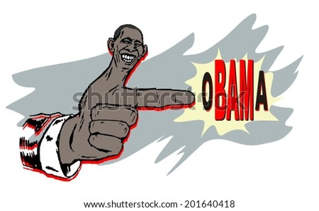June 30, 2014: vector illustration, of a portrait President Obama - stock vector