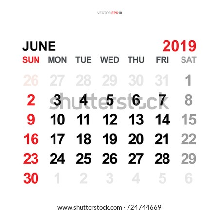 June 2019 vector monthly calendar template stock vector 724744669 june 2019 vector monthly calendar template 2019 year in simple style for template design pronofoot35fo Images