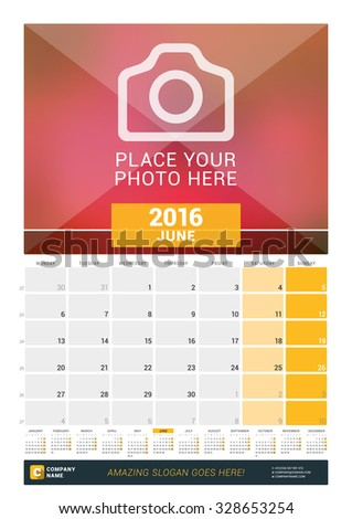 June 2016. Wall Monthly Calendar for 2016 Year. Vector Design Print Template with Place for Photo and Year Calendar. Week Starts Monday - stock vector