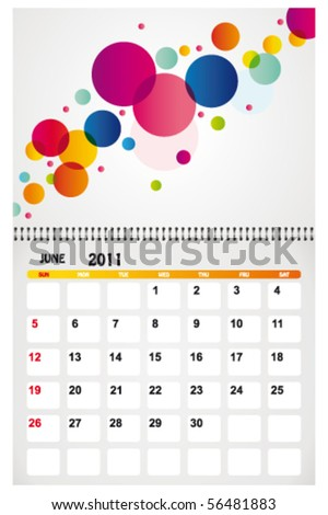 june 2011 with background - stock vector