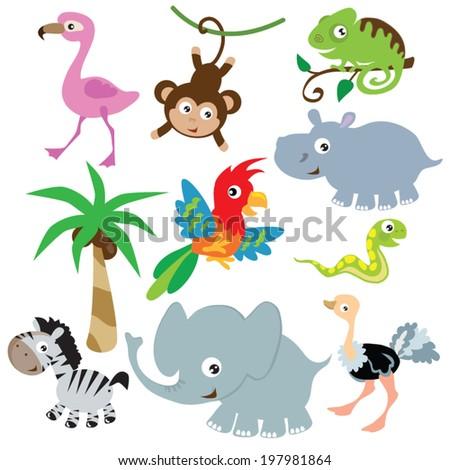 Jungle animal vector illustration - stock vector