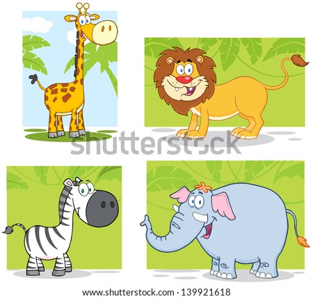 Jungle Animals Cartoon Characters With Background. Vector Collection Set - stock vector
