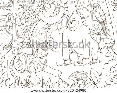 Jungle animals cartoon coloring book vector illustration - stock vector