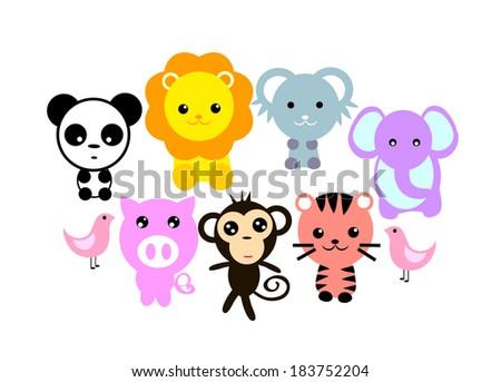 Jungle Animals Cartoon vector file  - stock vector