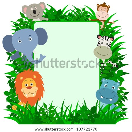 Jungle Animals Frame with copy space