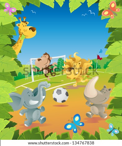 Jungle Animals Soccer Border.