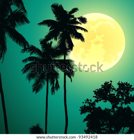 jungle at night - stock vector