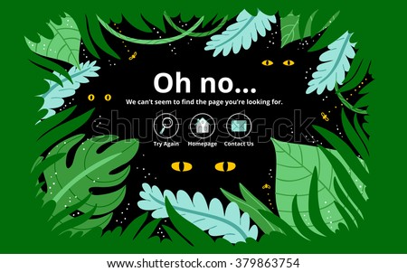 Jungle 404 error page, vector template - stock vector